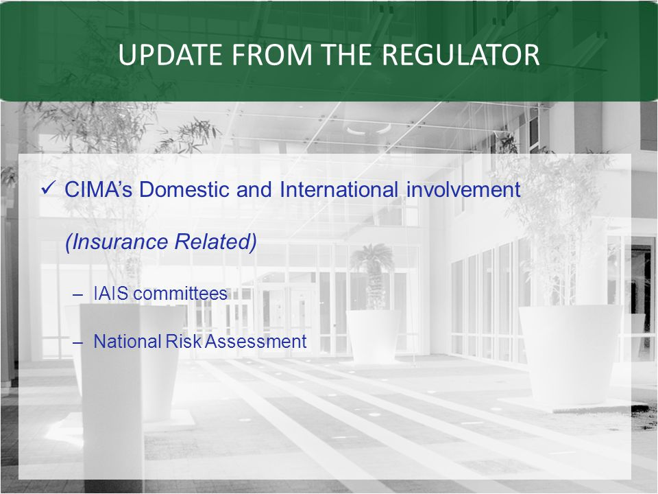 UPDATE FROM THE REGULATOR CIMA's Domestic and International involvement (Insurance Related) –IAIS committees –National Risk Assessment