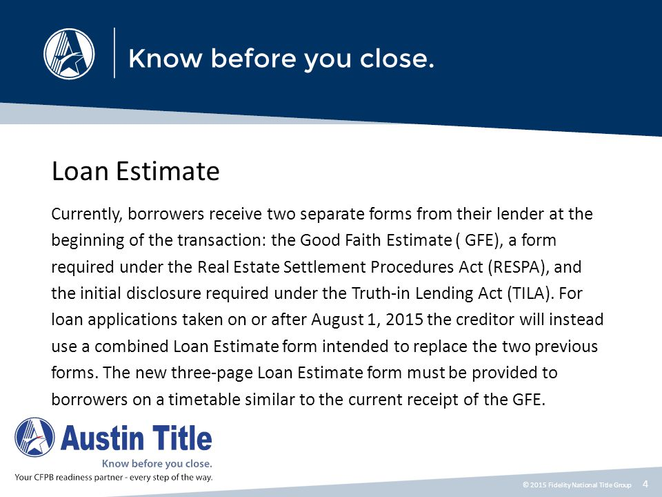 Five Things You Need to Know Before August 2015 The combination of forms continues at the end of the transaction as well, with the HUD-1 Settlement Statement and the final TILA forms now combined into a single Closing Disclosure form.