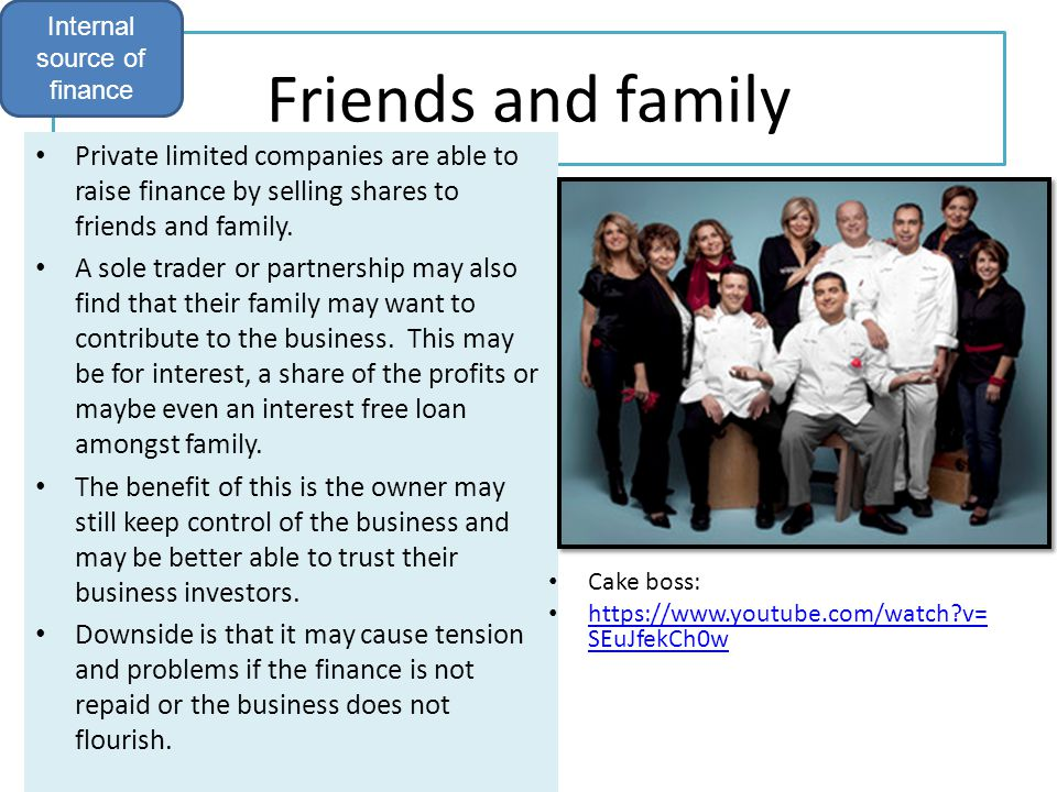 Friends and family Private limited companies are able to raise finance by selling shares to friends and family. A sole trader or partnership may also