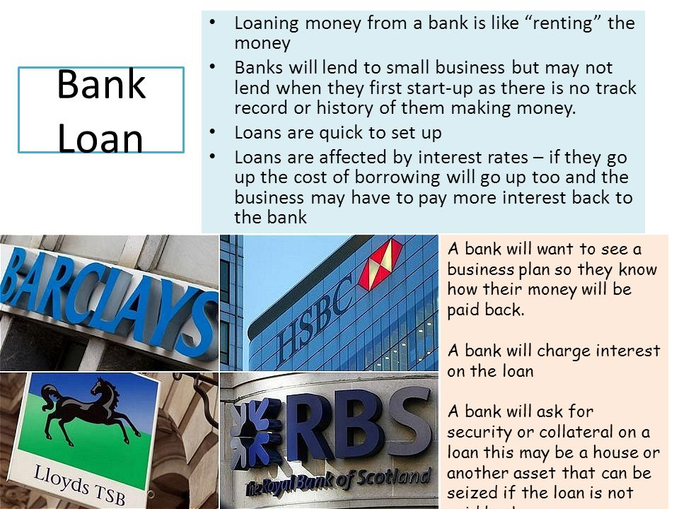 Overdraft Some months a business may need extra cash to tide it over until a better month.