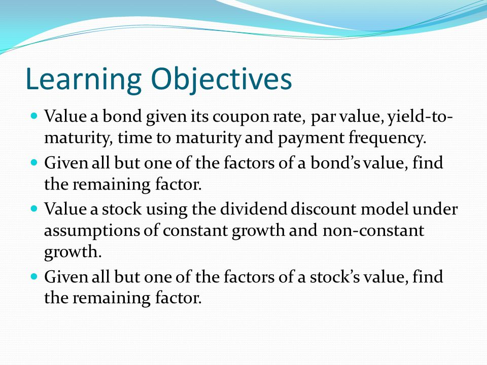 Example problem 3 – constant growth The price of a stock in the market is $62.