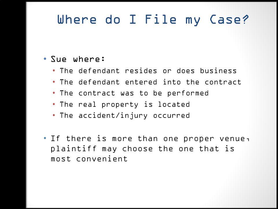 Where do I File my Case.