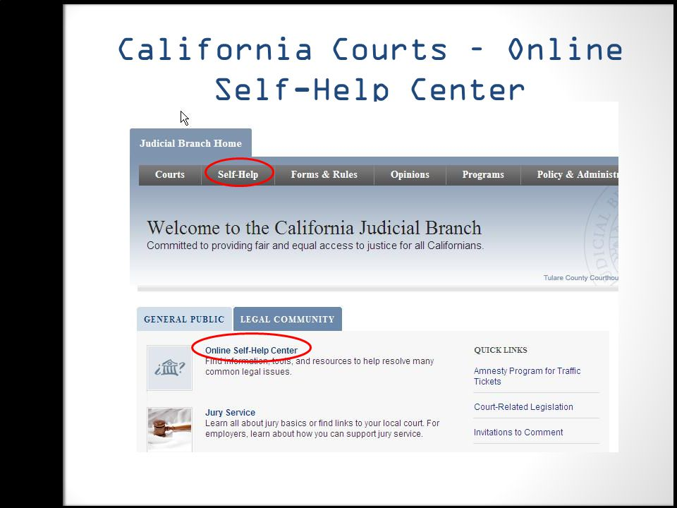California Courts – Online Self-Help Center http://www.courts.ca.gov/ http://www.courts.ca.gov/