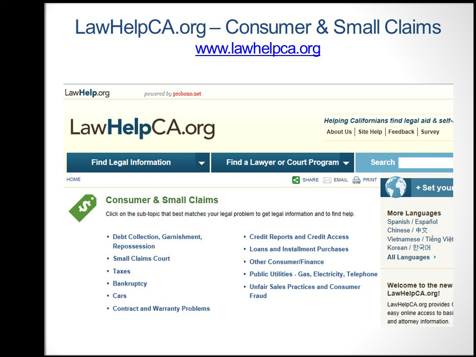 LawHelpCA.org – Consumer & Small Claims www.lawhelpca.org www.lawhelpca.org