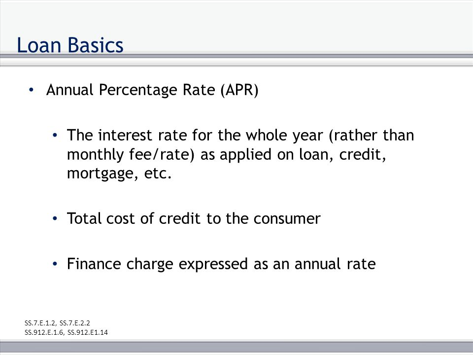 Loan Basics Annual Percentage Rate (APR) The interest rate for the whole year (rather than monthly fee/rate) as applied on loan, credit, mortgage, etc.