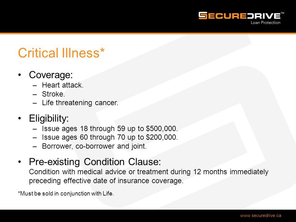 www.securedrive.ca Critical Illness* Coverage: –Heart attack.