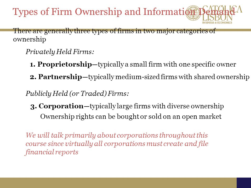 Types of Firm Ownership and Information Demand There are generally three types of firms in two major categories of ownership Privately Held Firms: Ownership rights can be bought or sold on an open market 1.