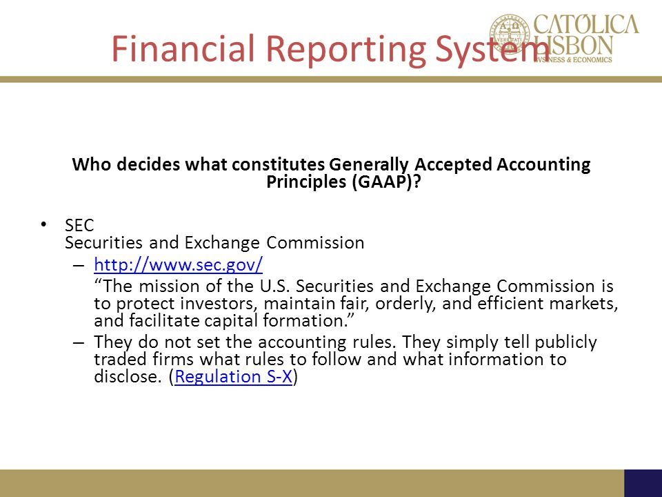 Financial Reporting System Who decides what constitutes Generally Accepted Accounting Principles (GAAP).