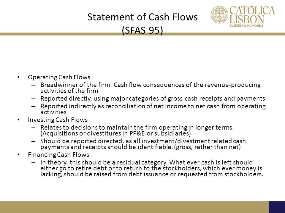 Statement of Cash Flows (SFAS 95) Operating Cash Flows – Breadwinner of the firm.