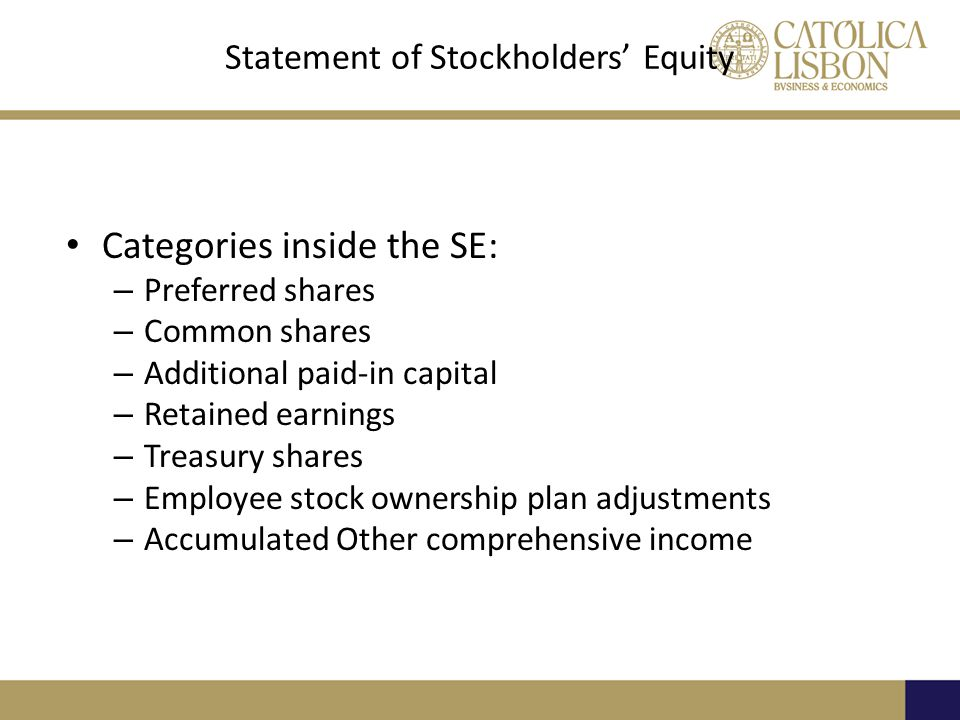 Statement of Stockholders' Equity Categories inside the SE: – Preferred shares – Common shares – Additional paid-in capital – Retained earnings – Treasury shares – Employee stock ownership plan adjustments – Accumulated Other comprehensive income