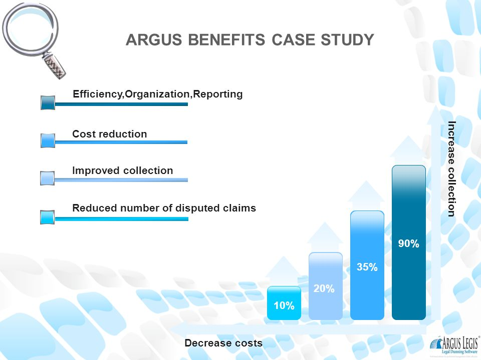Decrease costs Increase collection 10% 20% 35% 90% Reduced number of disputed claims Improved collection Cost reduction Efficiency,Organization,Reporting ARGUS BENEFITS CASE STUDY