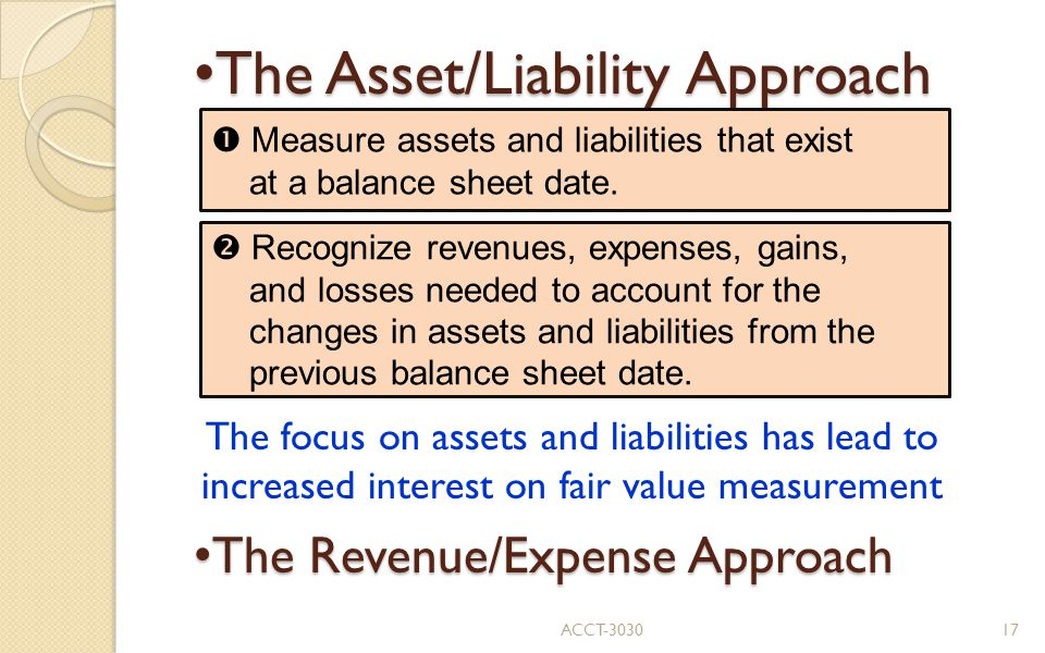 The Asset/Liability Approach The Asset/Liability Approach The focus on assets and liabilities has lead to increased interest on fair value measurement The Revenue/Expense Approach The Revenue/Expense Approach  Measure assets and liabilities that exist at a balance sheet date.