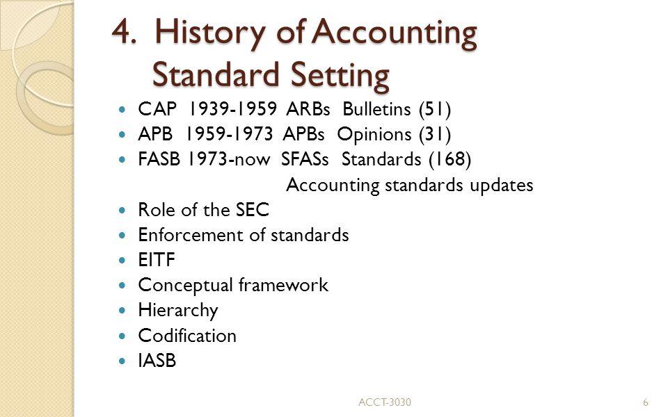 4. History of Accounting Standard Setting CAP 1939-1959 ARBs Bulletins (51) APB 1959-1973 APBs Opinions (31) FASB 1973-now SFASs Standards (168) Accou