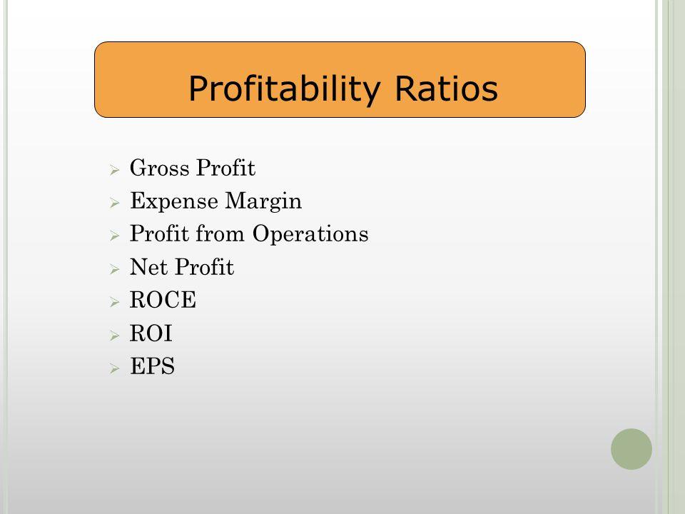  Gross Profit  Expense Margin  Profit from Operations  Net Profit  ROCE  ROI  EPS Profitability Ratios