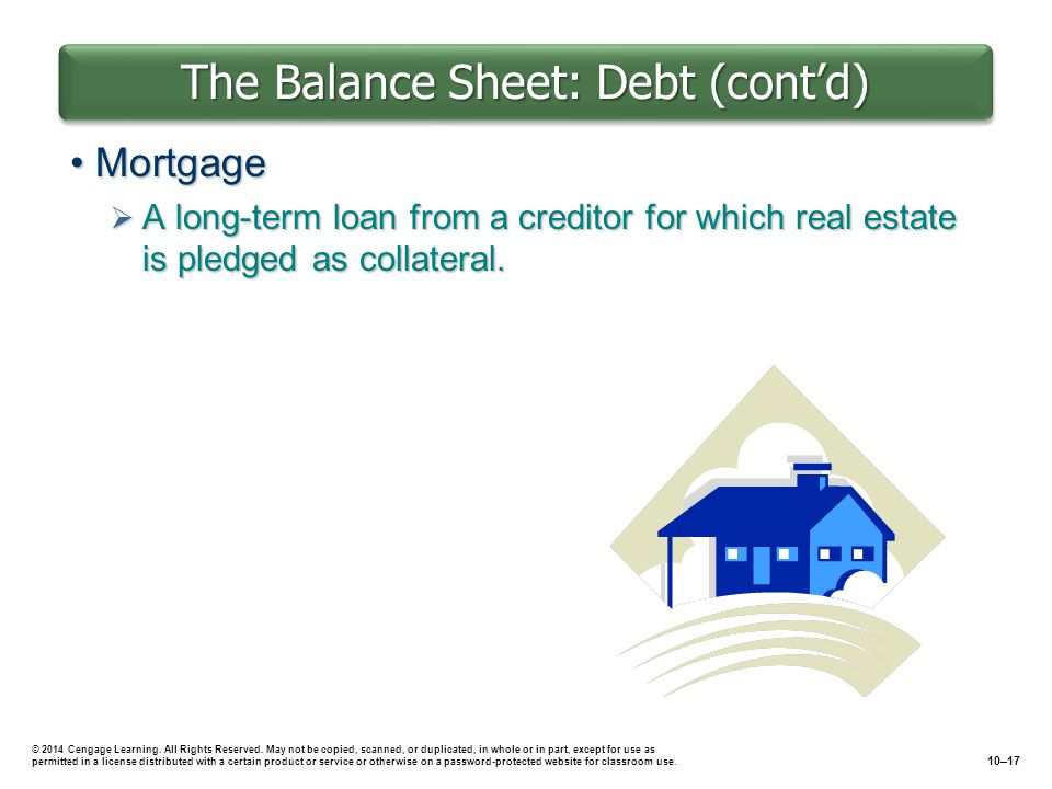 The Balance Sheet: Debt (cont'd) MortgageMortgage  A long-term loan from a creditor for which real estate is pledged as collateral.