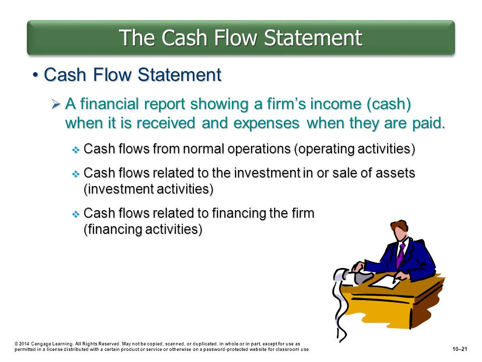 The Cash Flow Statement Cash Flow StatementCash Flow Statement  A financial report showing a firm's income (cash) when it is received and expenses when they are paid.