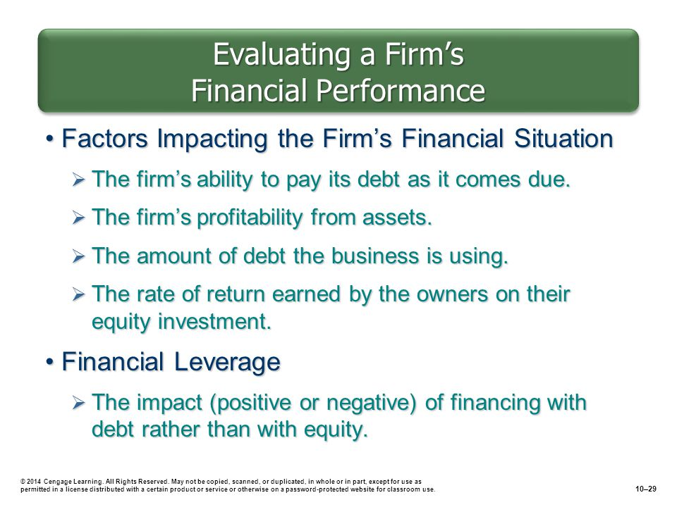 Evaluating a Firm's Financial Performance Factors Impacting the Firm's Financial SituationFactors Impacting the Firm's Financial Situation  The firm's ability to pay its debt as it comes due.
