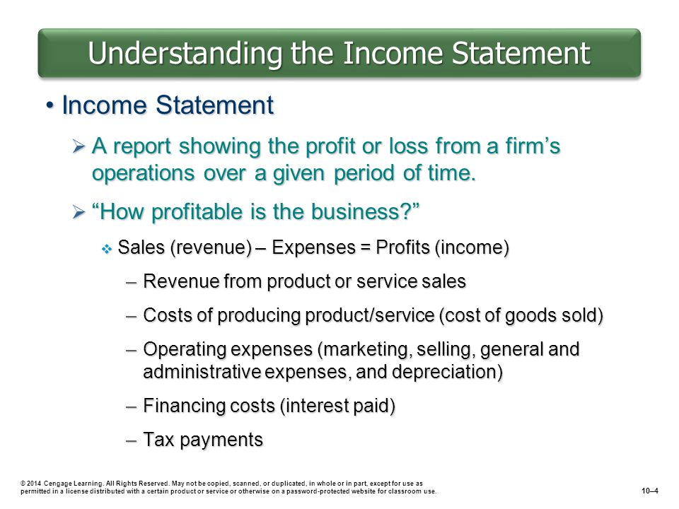Understanding the Income Statement Income StatementIncome Statement  A report showing the profit or loss from a firm's operations over a given period of time.