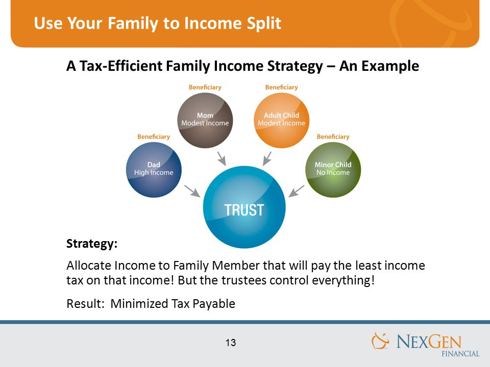 13 Use Your Family to Income Split Strategy: Allocate Income to Family Member that will pay the least income tax on that income.