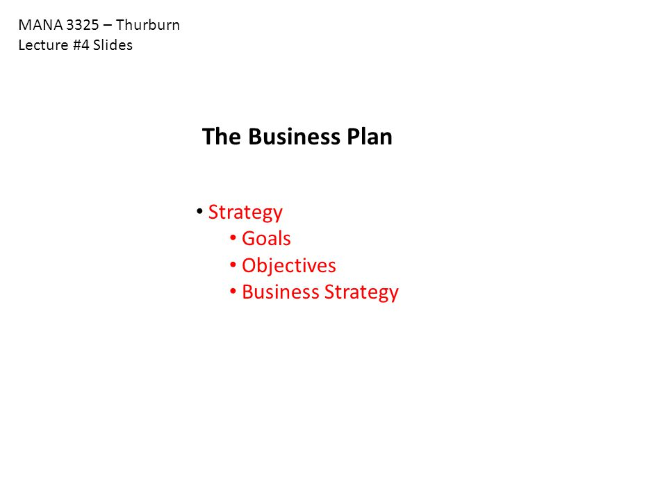 MANA 3325 – Thurburn Lecture #4 Slides The Business Plan Strategy Goals Objectives Business Strategy