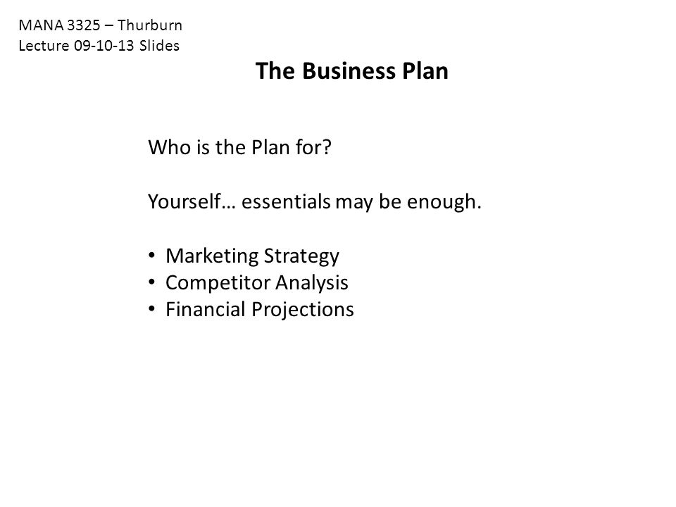 The Business Plan Who is the Plan for. Yourself… essentials may be enough.
