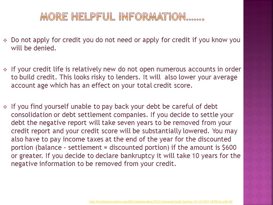  Do not apply for credit you do not need or apply for credit if you know you will be denied.