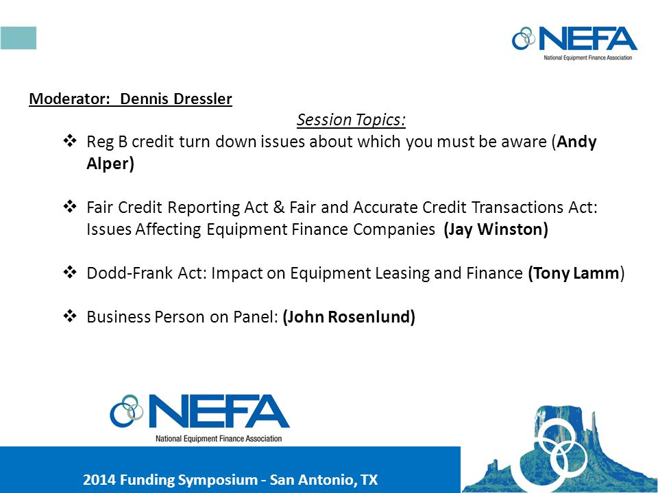 NEFA 2014 FUNDING SYMPOSIUM September 19, 2014 Compliance Seminar II Protect Yourself.