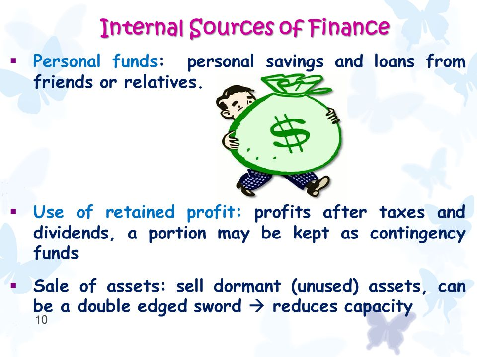  Personal funds: personal savings and loans from friends or relatives.