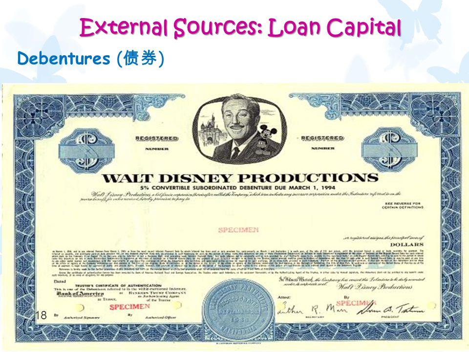 18 External Sources: Loan Capital External Sources: Loan Capital Debentures ( 债券 )