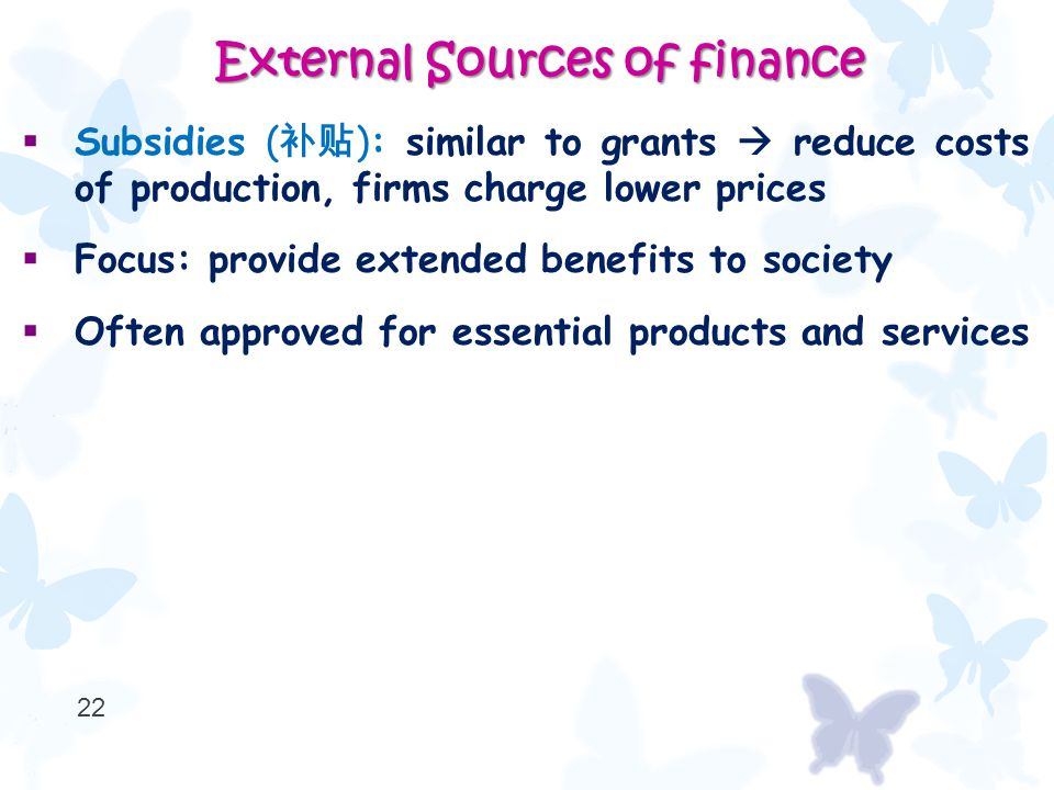  Subsidies ( 补贴 ): similar to grants  reduce costs of production, firms charge lower prices  Focus: provide extended benefits to society  Often approved for essential products and services 22 External Sources of finance External Sources of finance