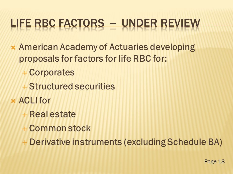  American Academy of Actuaries developing proposals for factors for life RBC for:  Corporates  Structured securities  ACLI for  Real estate  Common stock  Derivative instruments (excluding Schedule BA) Page 18