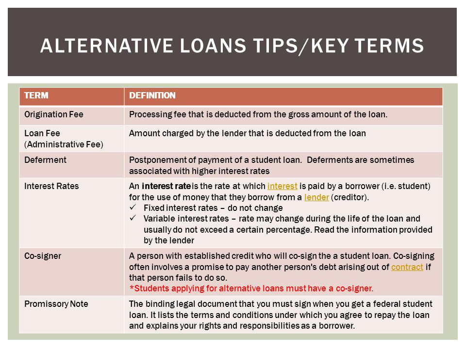 TERMDEFINITION Origination FeeProcessing fee that is deducted from the gross amount of the loan.