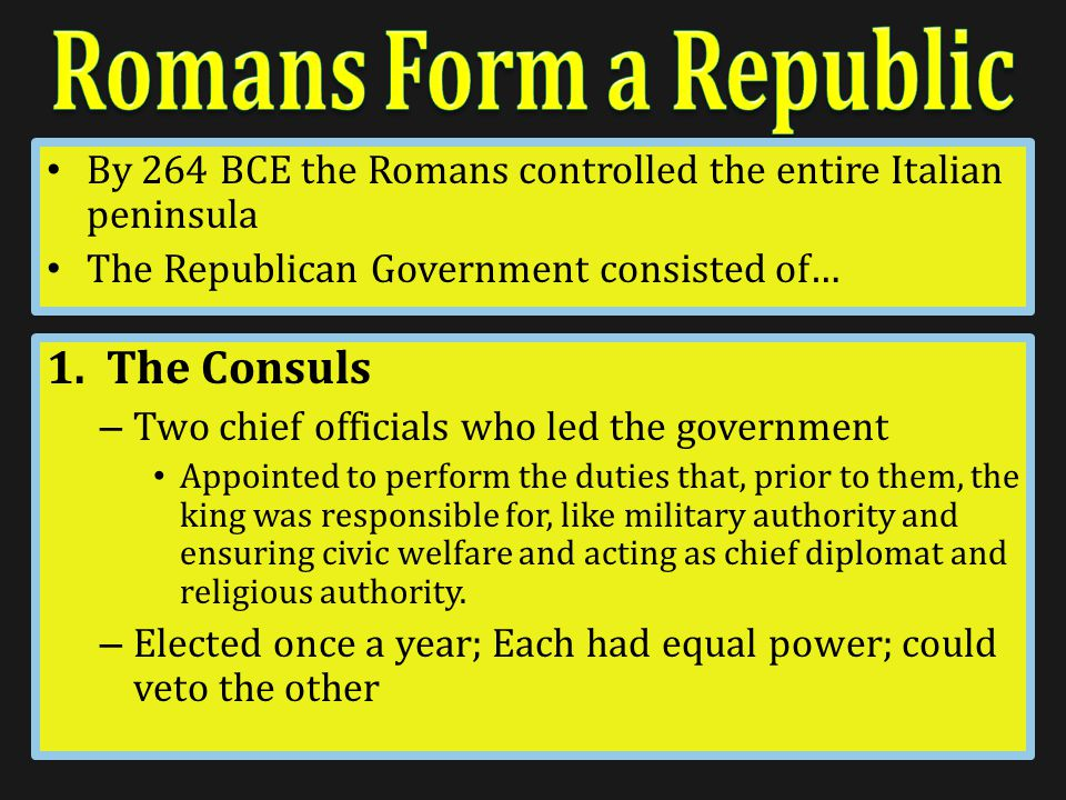 Romans never wanted a king again or any government with a single ruler – Establish a Republic…what is it.