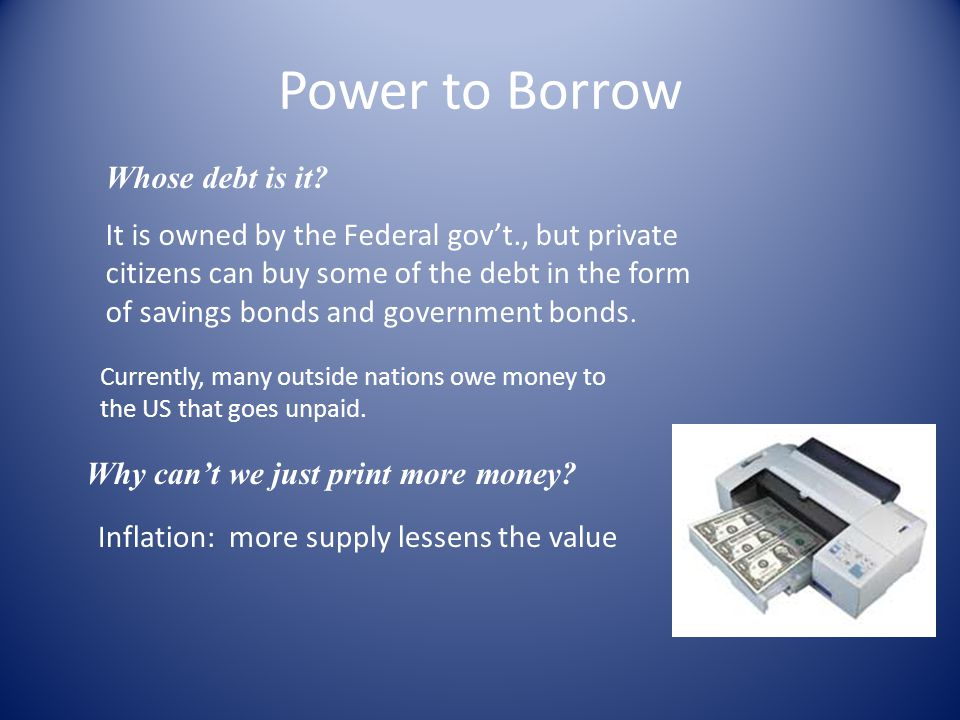 Power to Borrow Whose debt is it.