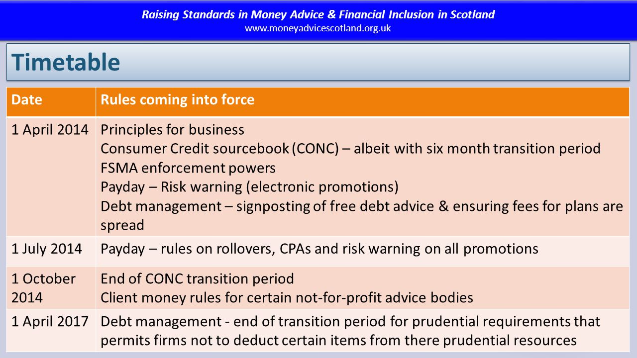 Raising Standards in Money Advice & Financial Inclusion in Scotland www.moneyadvicescotland.org.uk Raising Standards in Money Advice & Financial Inclusion in Scotland www.moneyadvicescotland.org.uk Timetable DateRules coming into force 1 April 2014Principles for business Consumer Credit sourcebook (CONC) – albeit with six month transition period FSMA enforcement powers Payday – Risk warning (electronic promotions) Debt management – signposting of free debt advice & ensuring fees for plans are spread 1 July 2014Payday – rules on rollovers, CPAs and risk warning on all promotions 1 October 2014 End of CONC transition period Client money rules for certain not-for-profit advice bodies 1 April 2017Debt management - end of transition period for prudential requirements that permits firms not to deduct certain items from there prudential resources