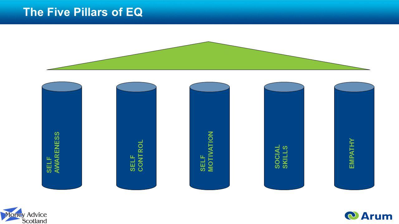 The Five Pillars of EQ SELF AWARENESS SELF CONTROL SELF MOTIVATION SOCIAL SKILLS EMPATHY