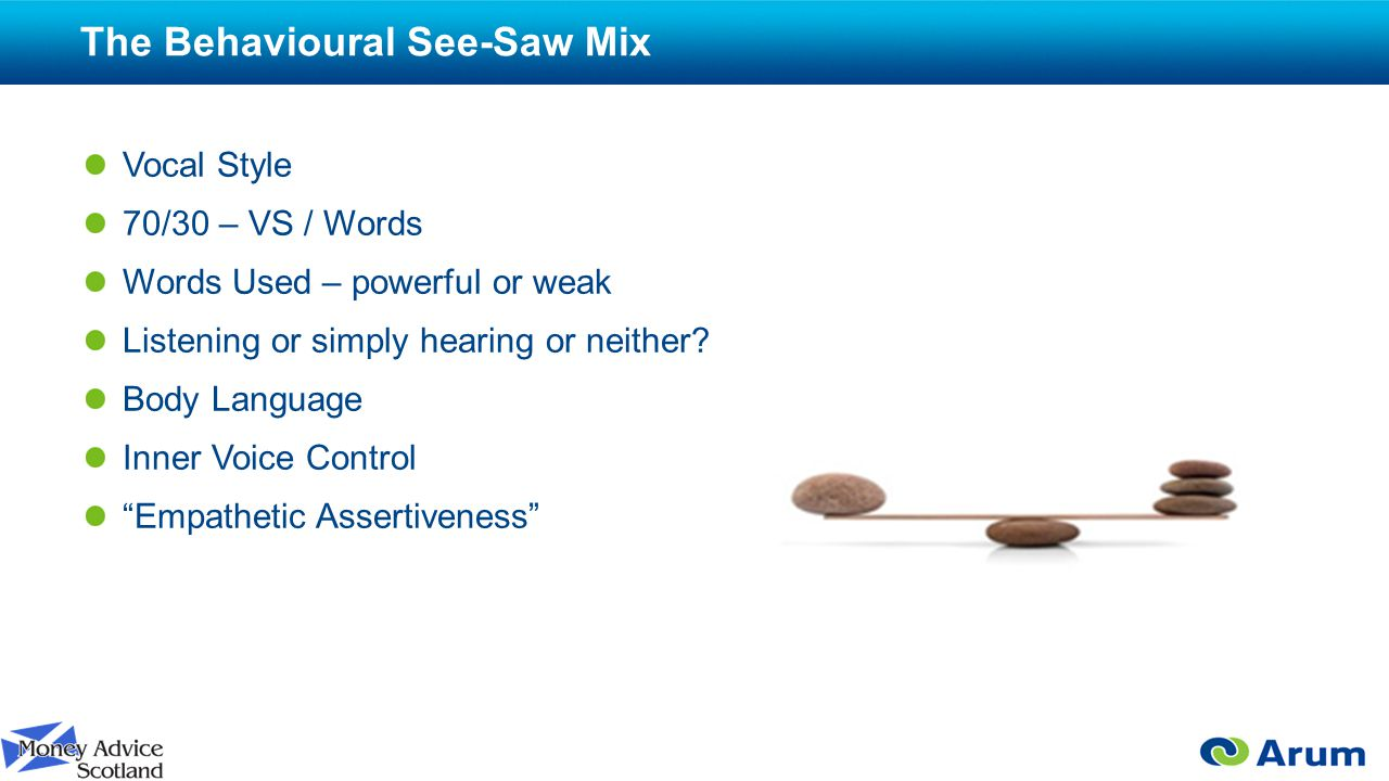 The Behavioural See-Saw Mix Vocal Style 70/30 – VS / Words Words Used – powerful or weak Listening or simply hearing or neither.