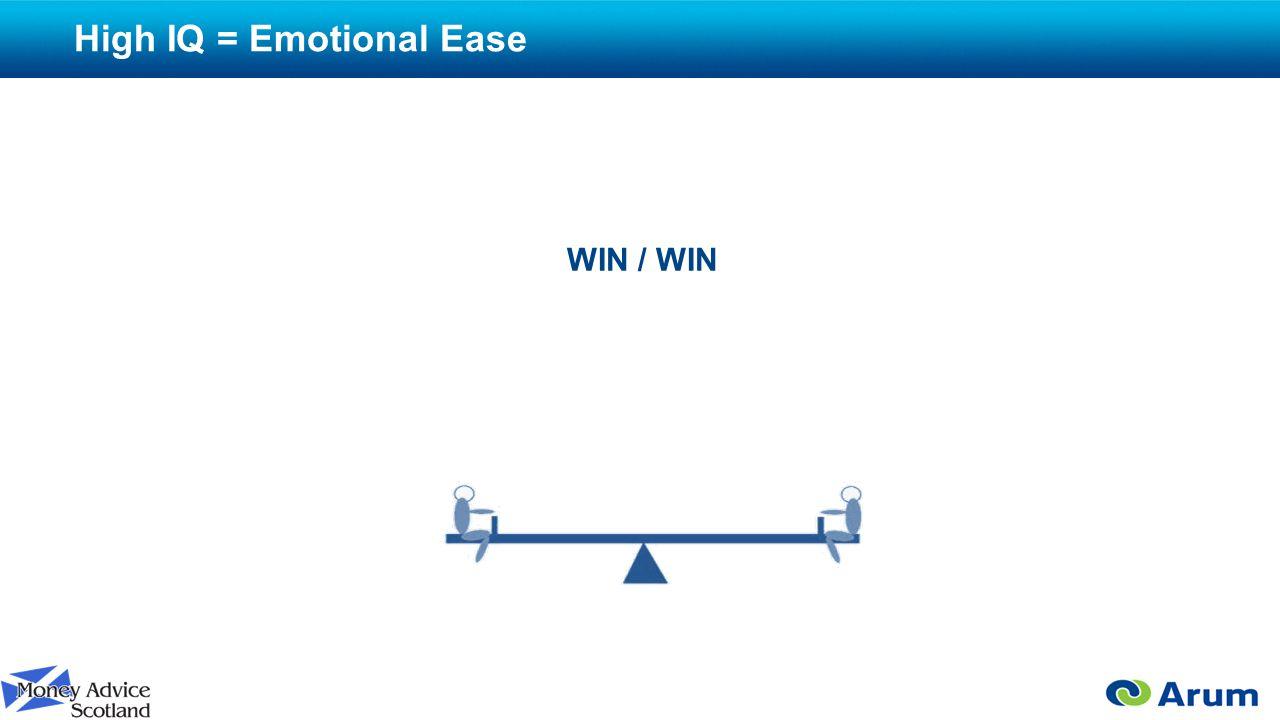 High IQ = Emotional Ease WIN / WIN