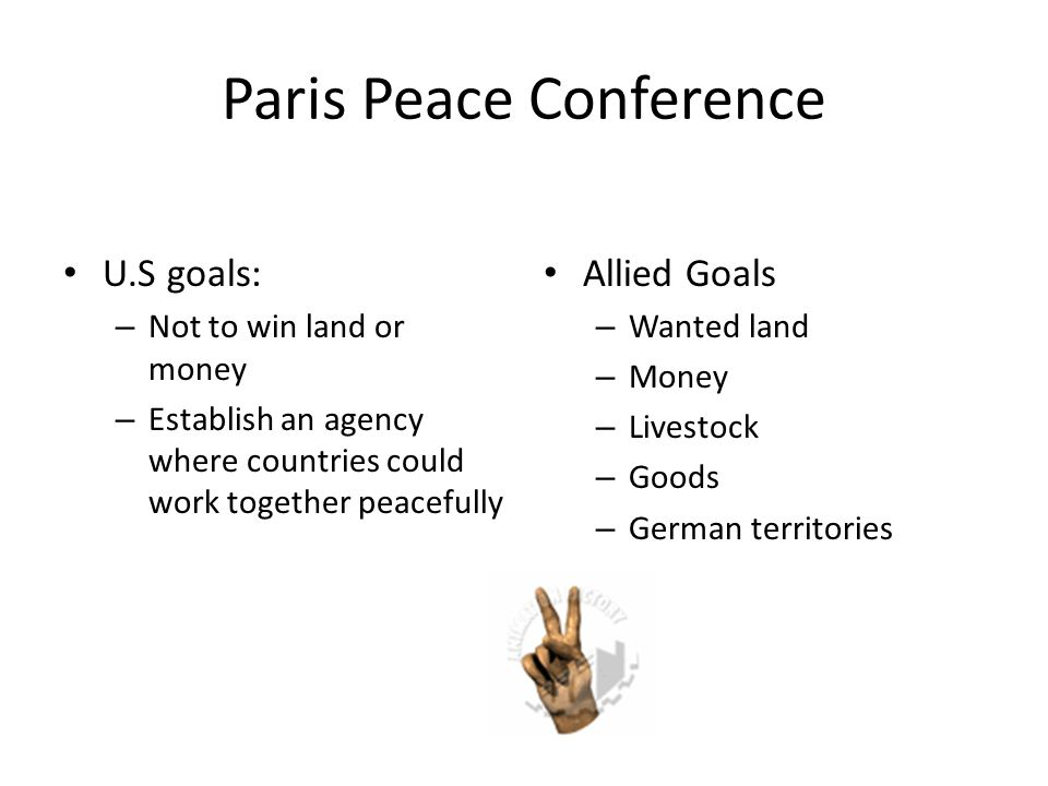 Wilson's 14 Points Plan to end World War's from happening Called for an end to secret treaties and reduced military Allies discarded this plan