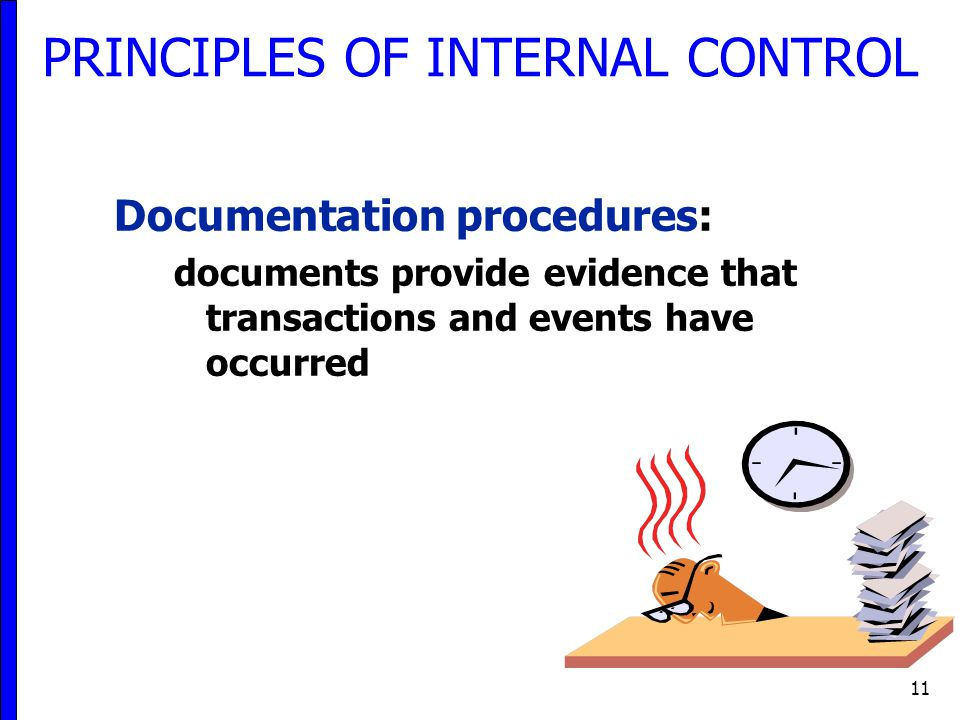 11 Documentation procedures: documents provide evidence that transactions and events have occurred PRINCIPLES OF INTERNAL CONTROL