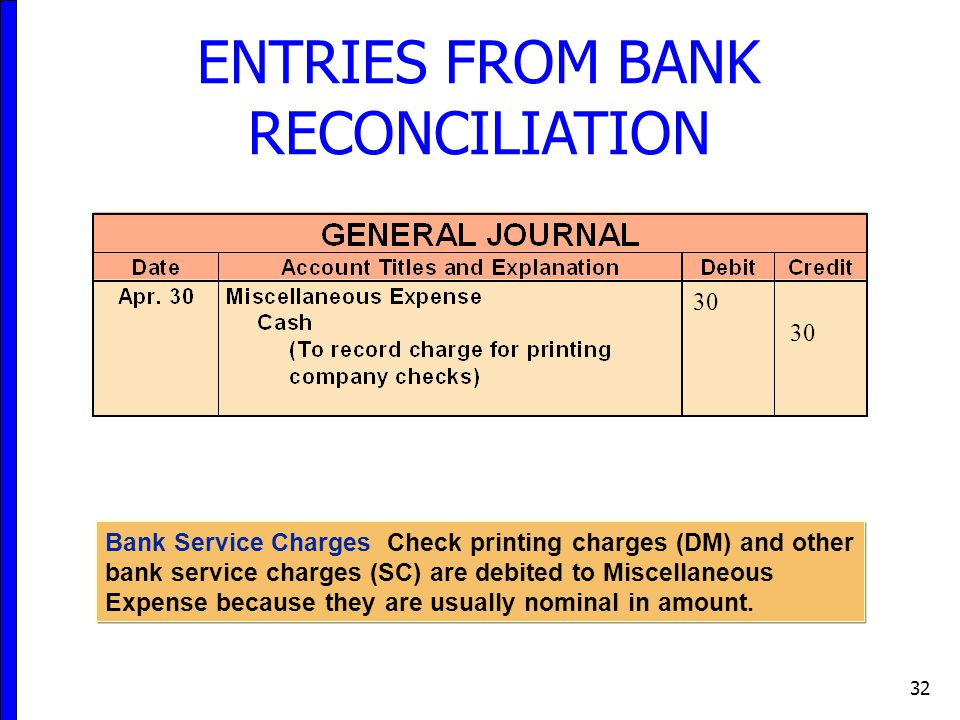 32 ENTRIES FROM BANK RECONCILIATION Bank Service Charges Check printing charges (DM) and other bank service charges (SC) are debited to Miscellaneous Expense because they are usually nominal in amount.