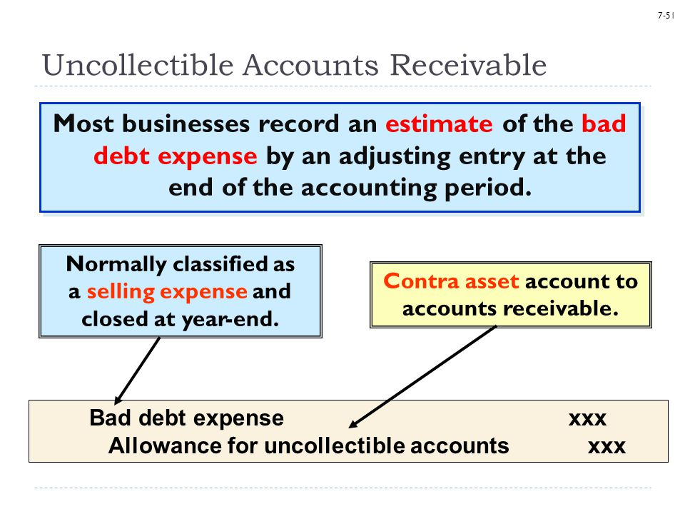 7-51 Uncollectible Accounts Receivable Most businesses record an estimate of the bad debt expense by an adjusting entry at the end of the accounting period.