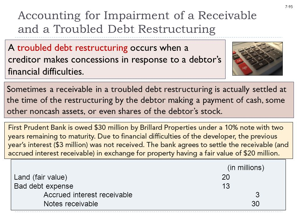 7-95 Accounting for Impairment of a Receivable and a Troubled Debt Restructuring A troubled debt restructuring occurs when a creditor makes concessions in response to a debtor's financial difficulties.