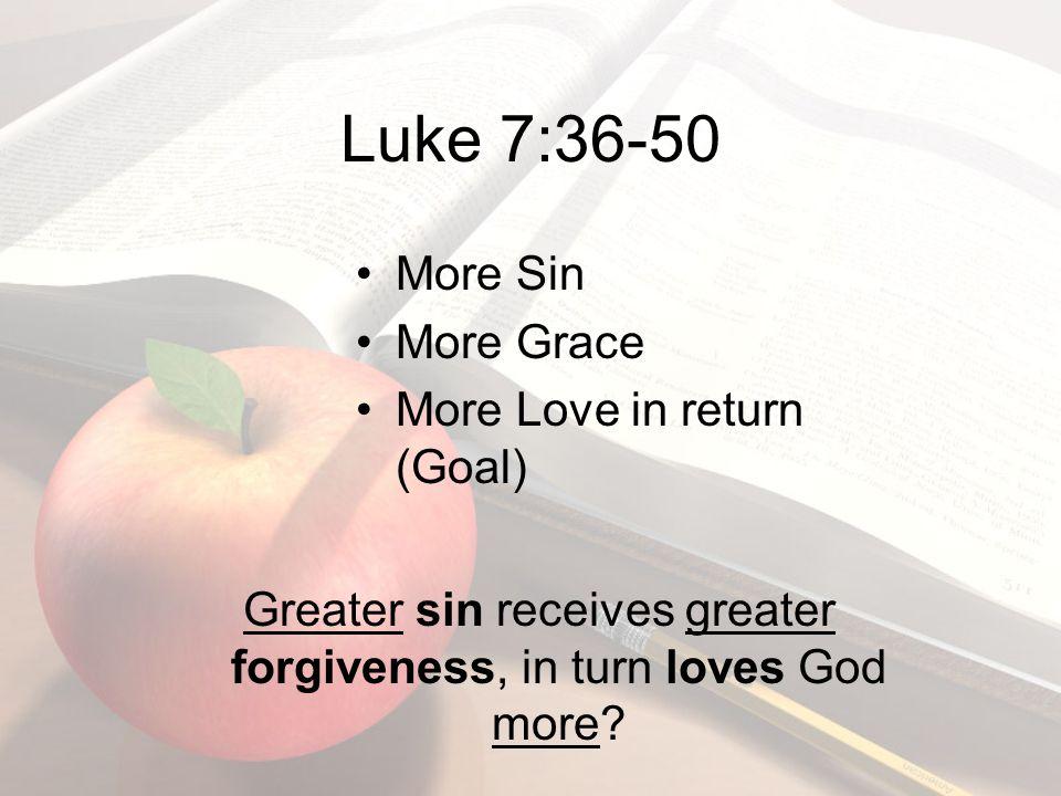 Luke 7:36-50 More Sin More Grace More Love in return (Goal) Greater sin receives greater forgiveness, in turn loves God more?