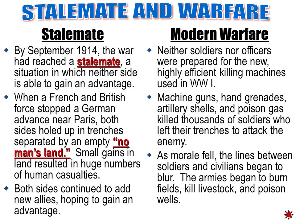 """Stalemate stalemate  By September 1914, the war had reached a stalemate, a situation in which neither side is able to gain an advantage. """"no man's la"""