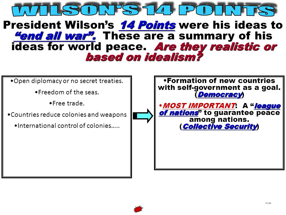 14 Points end all war .Are they realistic or based on idealism.