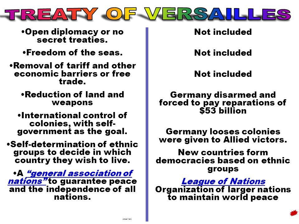 Open diplomacy or no secret treaties. Freedom of the seas.