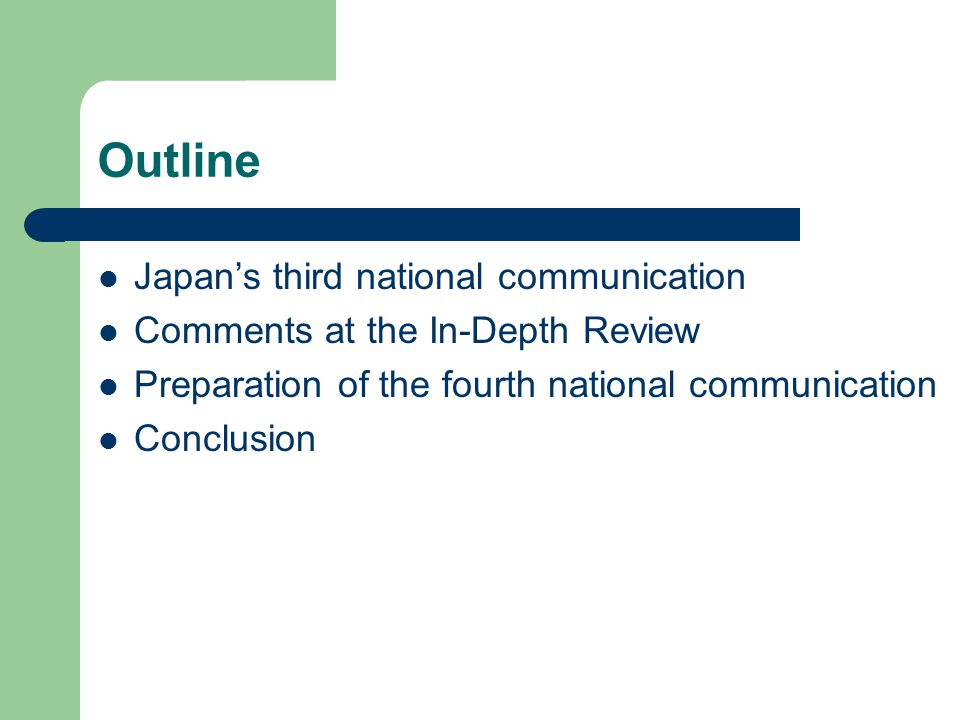Time line for Japan's NC3 April 2002: release of the Guideline of Measures to Prevent Global Warming May 2002: submission of Japan's NC3 December 2002: in-depth review by an expert review team November 2003: report of the In-depth review