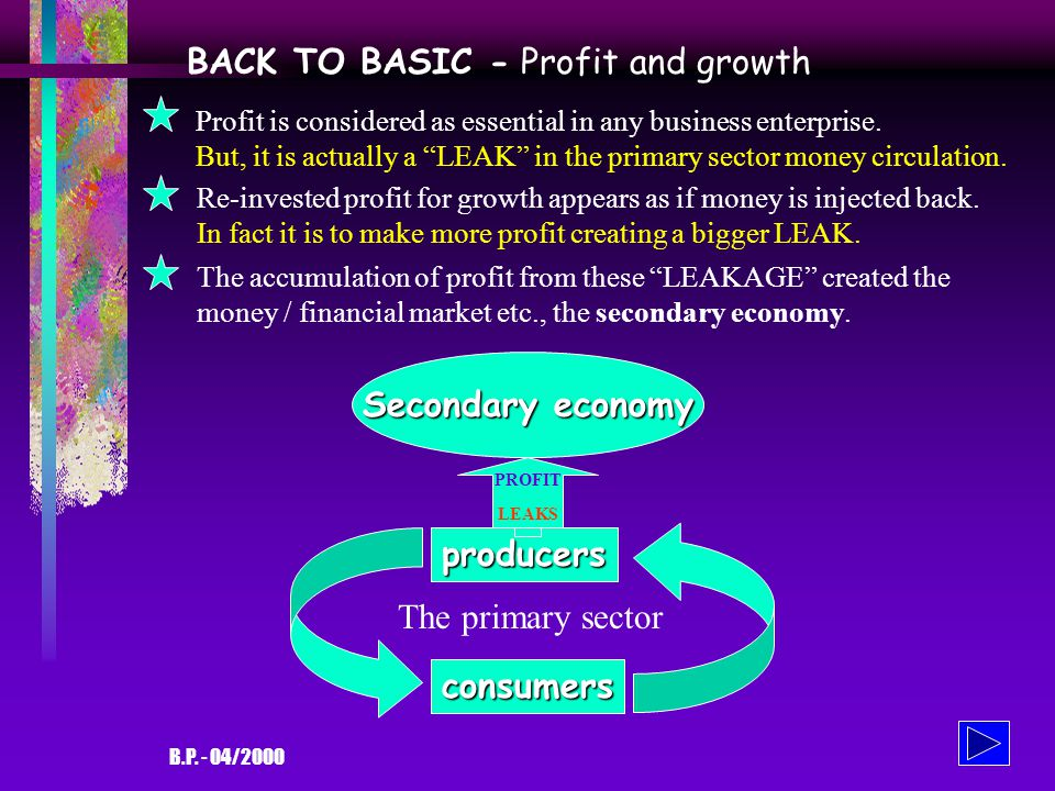B.P. - 04/2000 BACK TO BASIC - The primary cycle producers consumers The two basic economic elements: the producersand the consumers The producers pro