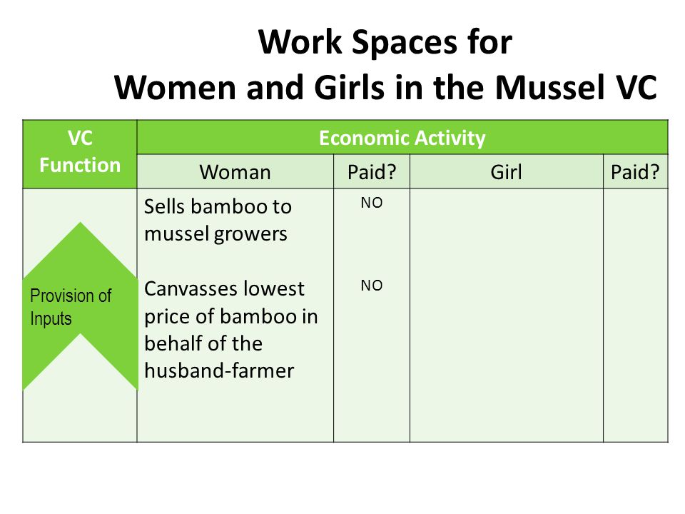 Work Spaces for Women and Girls in the Mussel VC VC Function Economic Activity WomanPaid?GirlPaid.